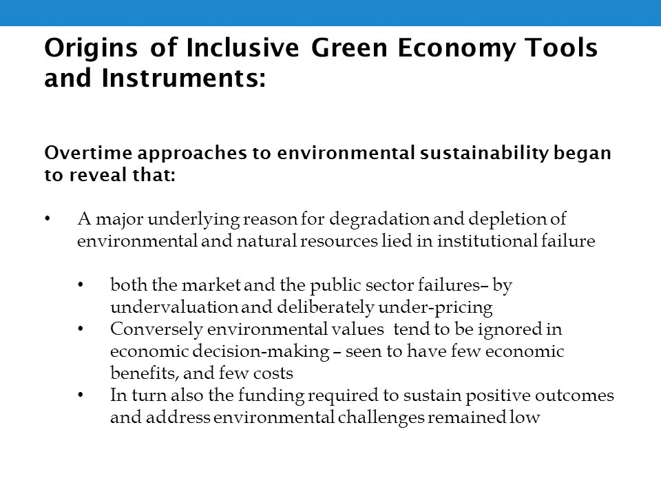 Origins of Inclusive Green Economy Tools and Instruments: