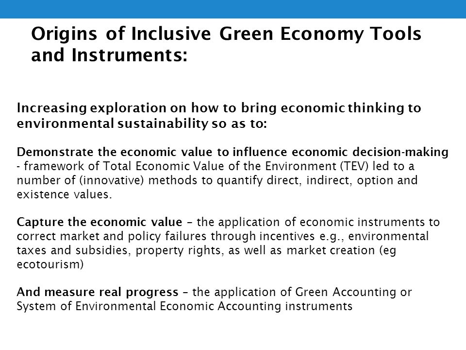 Evolution of Inclusive Green Economy Tools and Instruments: