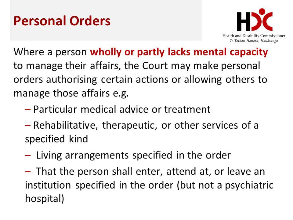 Personal Orders