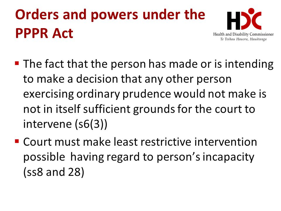Orders and powers under the PPPR Act