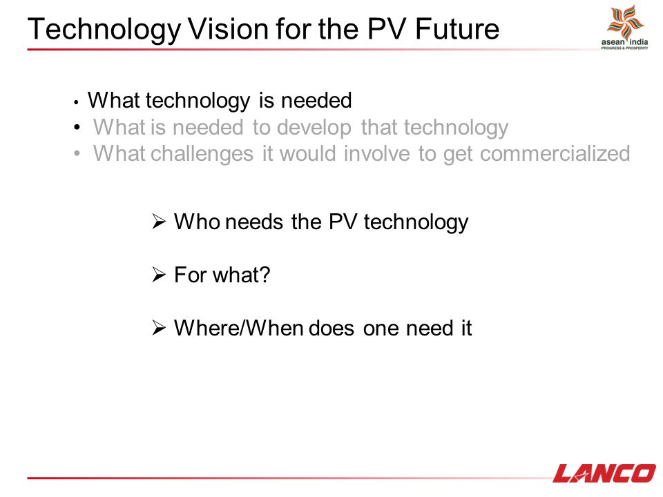 Technology Vision for the PV Future