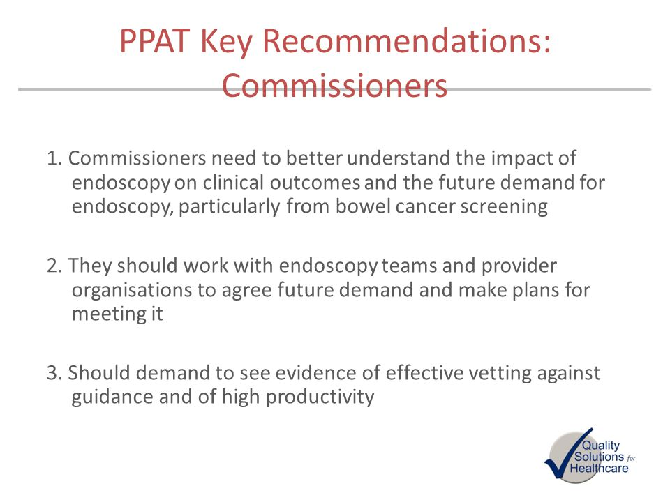 PPAT Key Recommendations: Commissioners