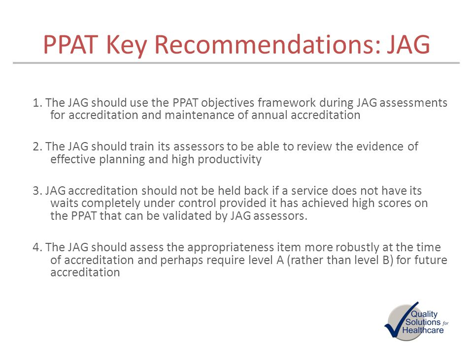 PPAT Key Recommendations: JAG