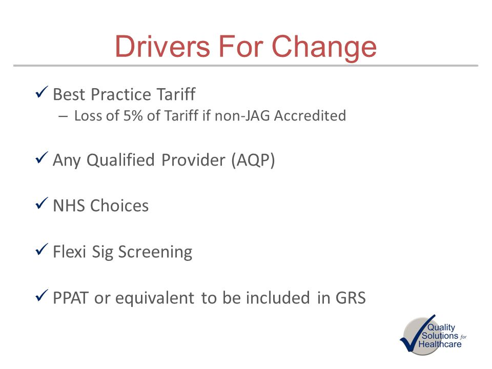 Drivers For Change Best Practice Tariff Any Qualified Provider (AQP)