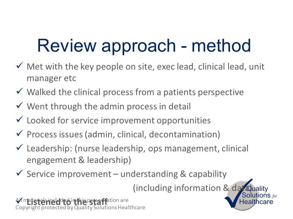 Review approach - method