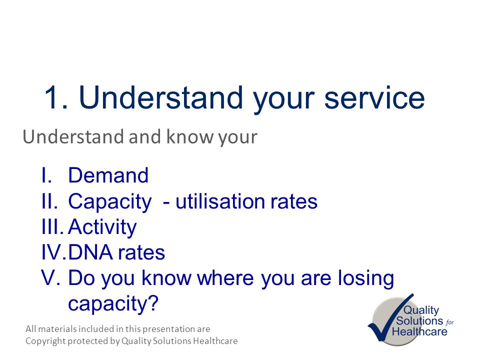 1. Understand your service