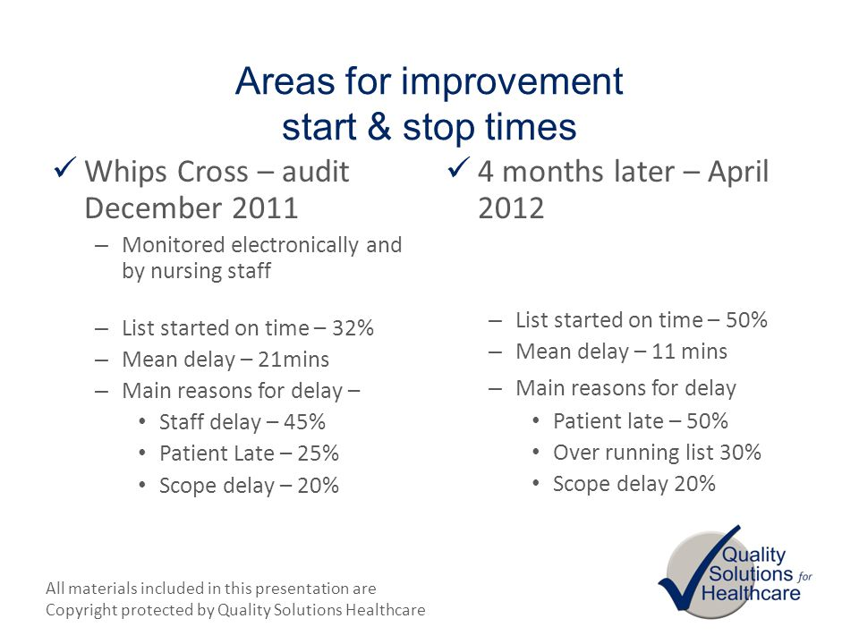 Areas for improvement start & stop times