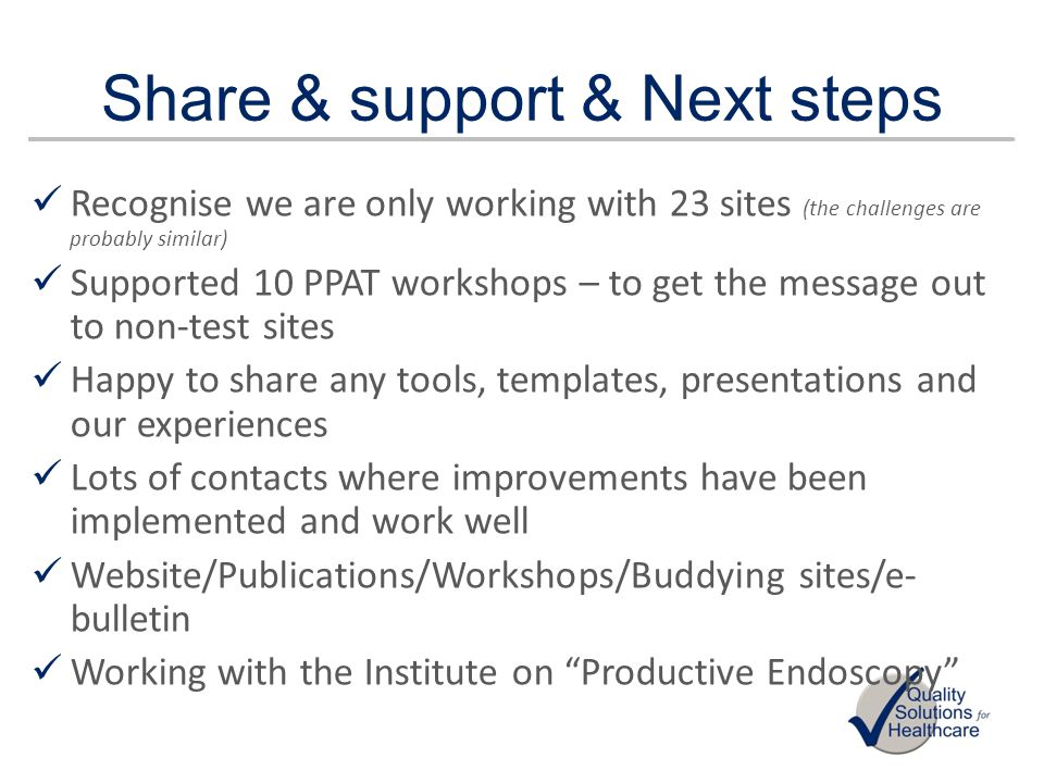 Share & support & Next steps