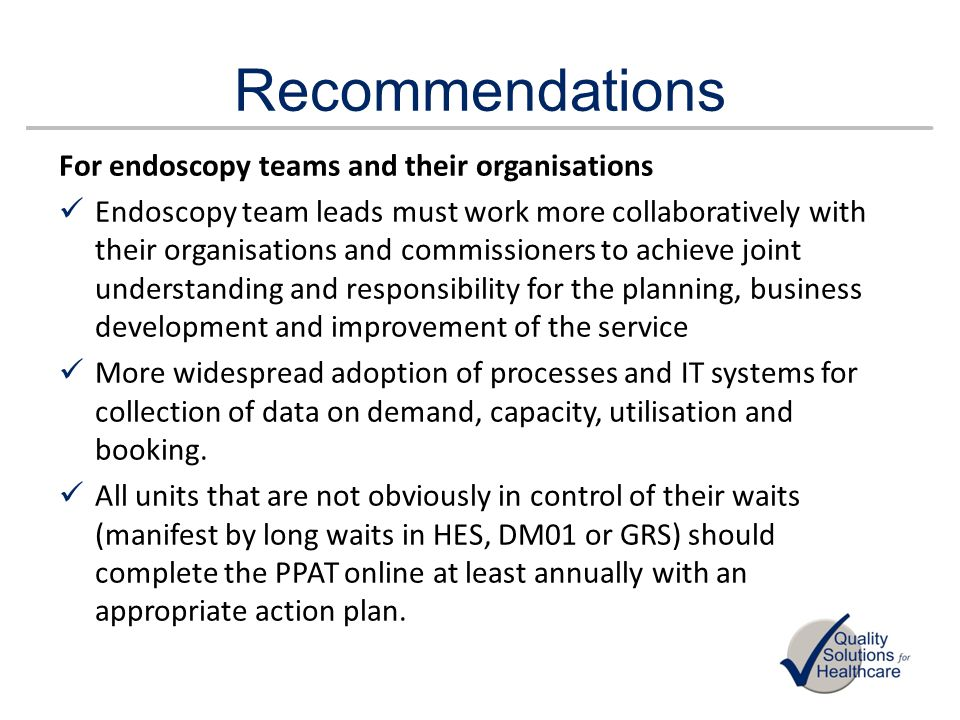 Recommendations For endoscopy teams and their organisations