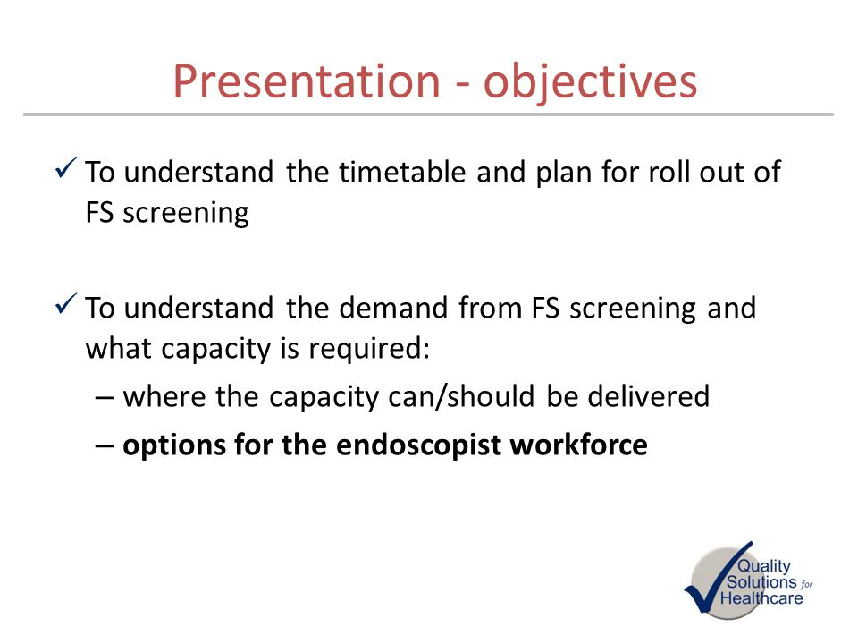 Presentation - objectives