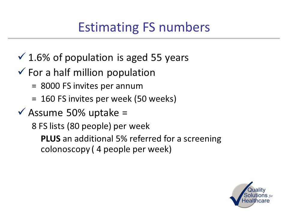 Estimating FS numbers 1.6% of population is aged 55 years