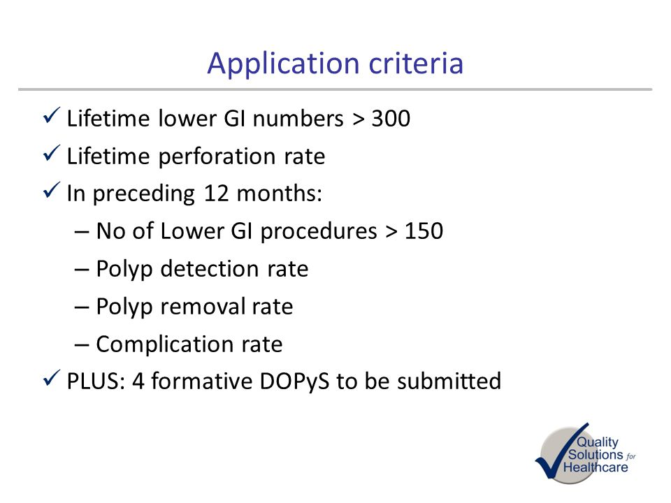 Application criteria Lifetime lower GI numbers > 300