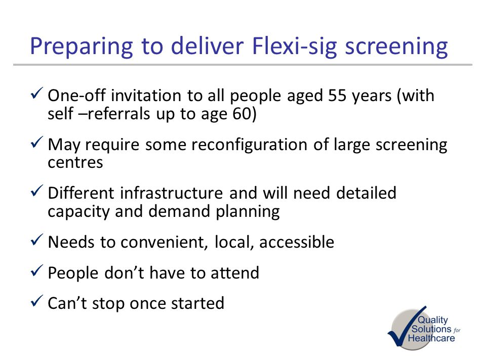 Preparing to deliver Flexi-sig screening