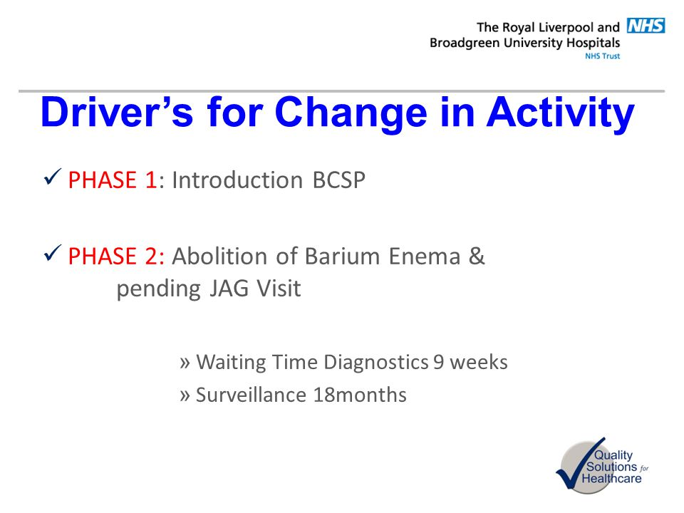 Driver's for Change in Activity