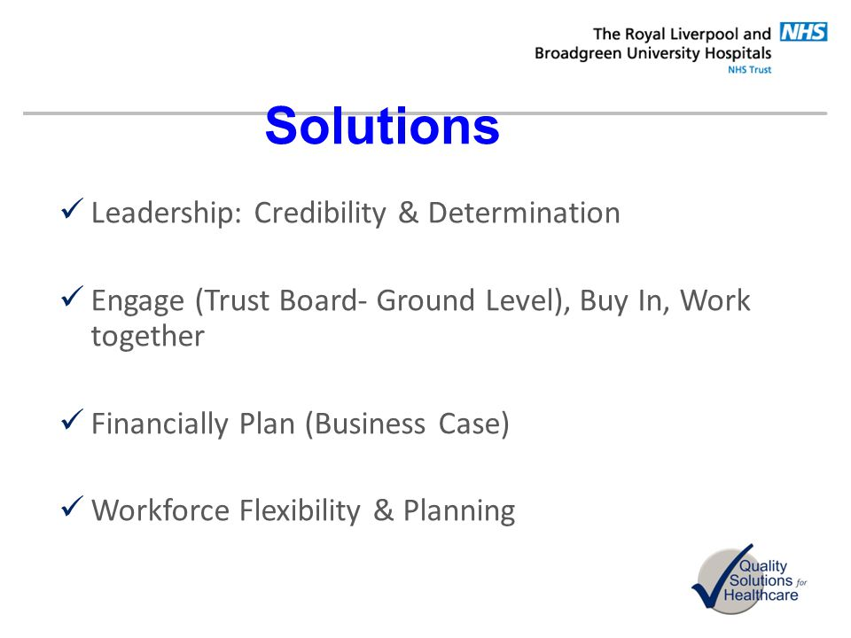 Solutions Leadership: Credibility & Determination