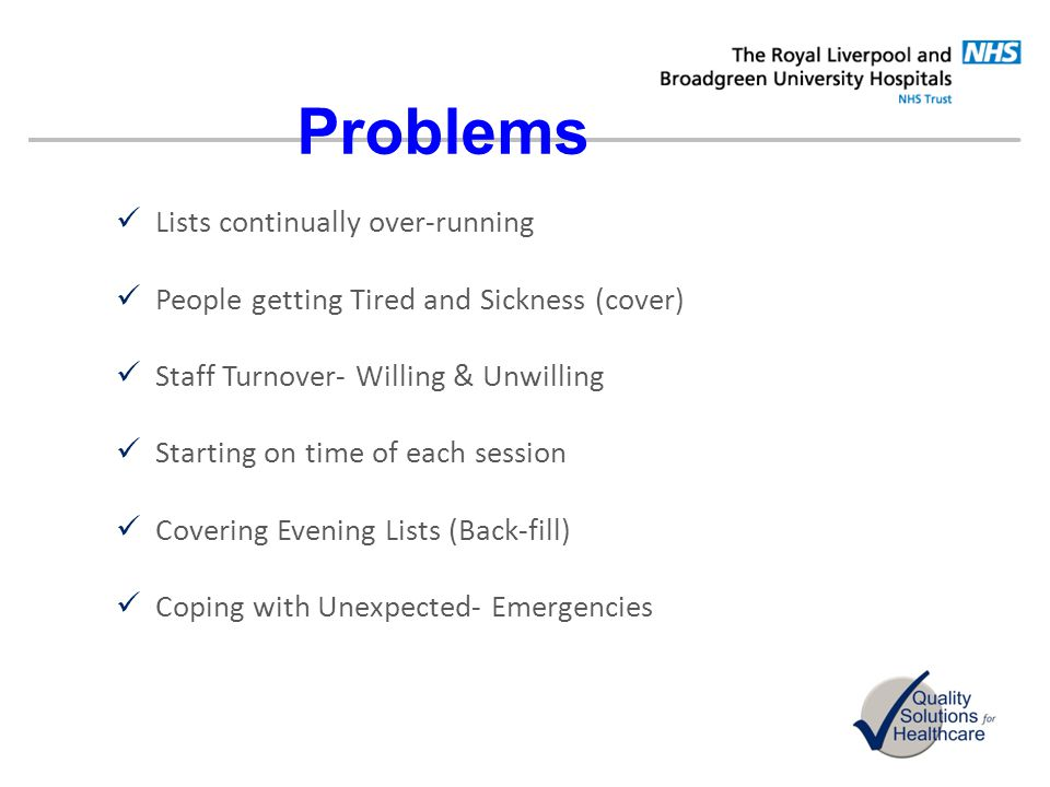 Problems Lists continually over-running