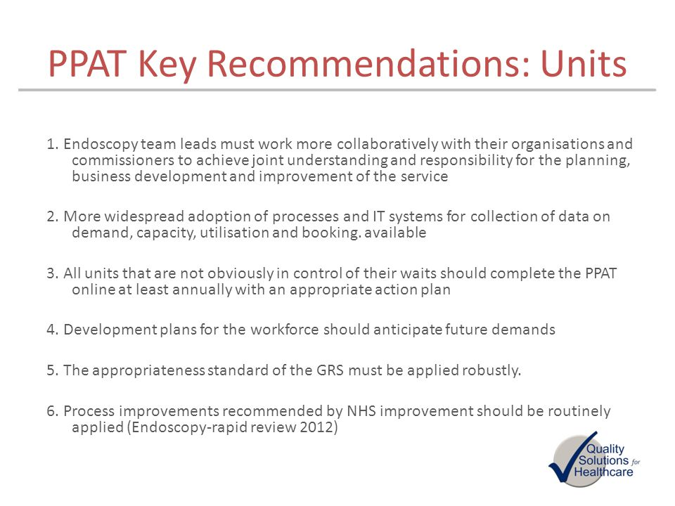 PPAT Key Recommendations: Units
