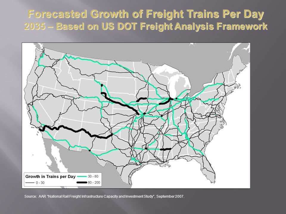 Forecasted Growth of Freight Trains Per Day