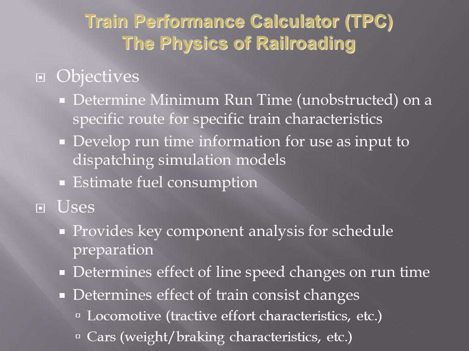 Train Performance Calculator (TPC) The Physics of Railroading