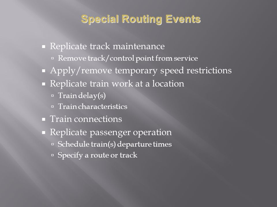 Special Routing Events