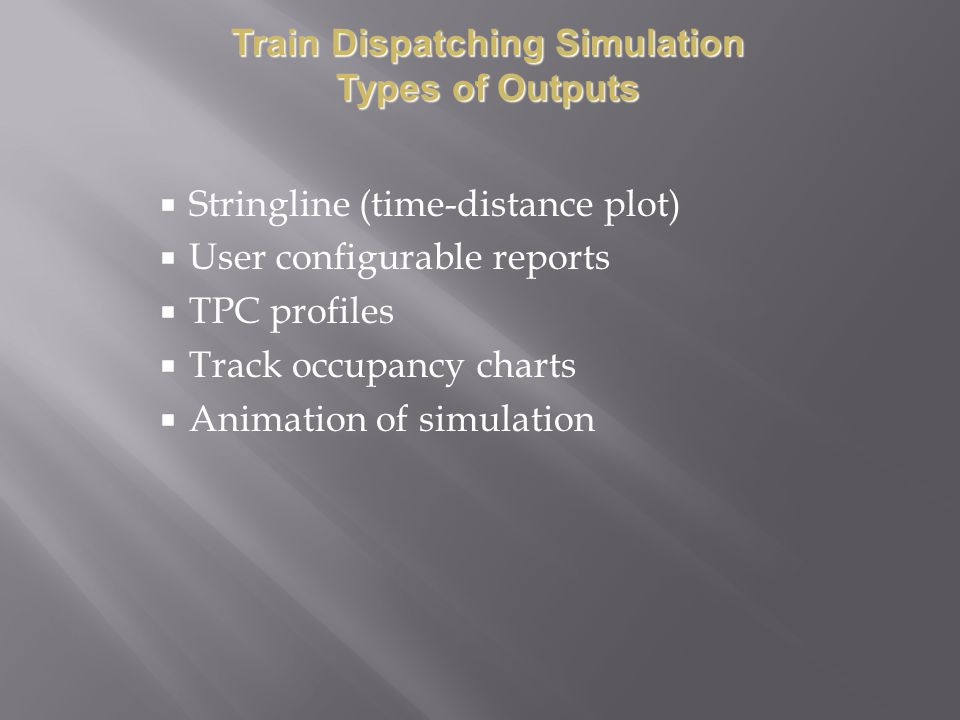 Train Dispatching Simulation