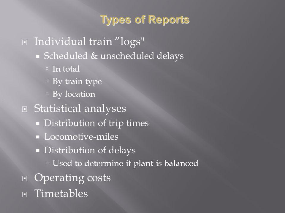 Individual train logs
