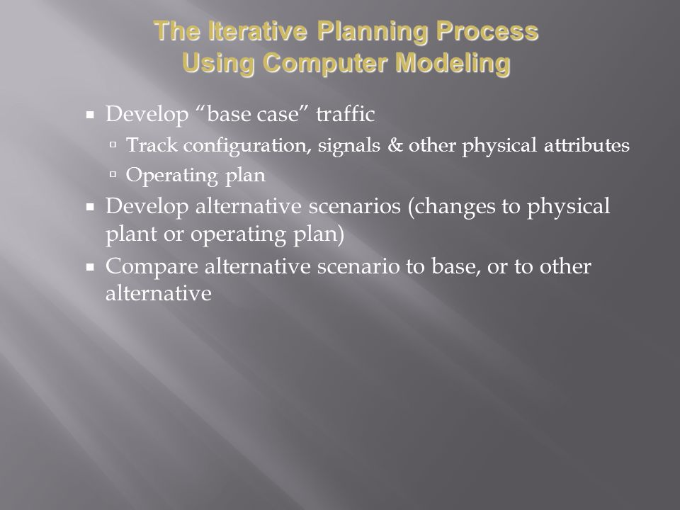 The Iterative Planning Process Using Computer Modeling