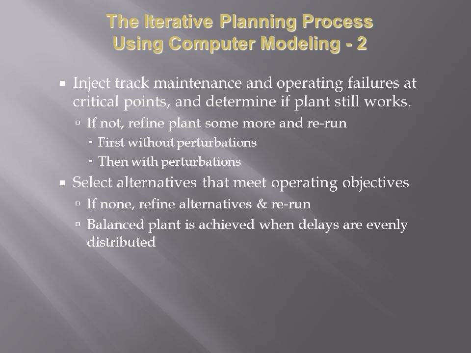 The Iterative Planning Process Using Computer Modeling - 2