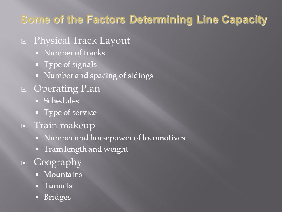Some of the Factors Determining Line Capacity