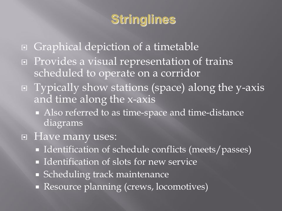 Stringlines Graphical depiction of a timetable