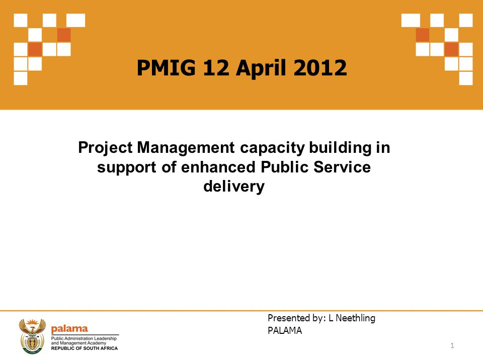 PMIG 12 April 2012 Project Management capacity building in support of enhanced Public Service delivery.