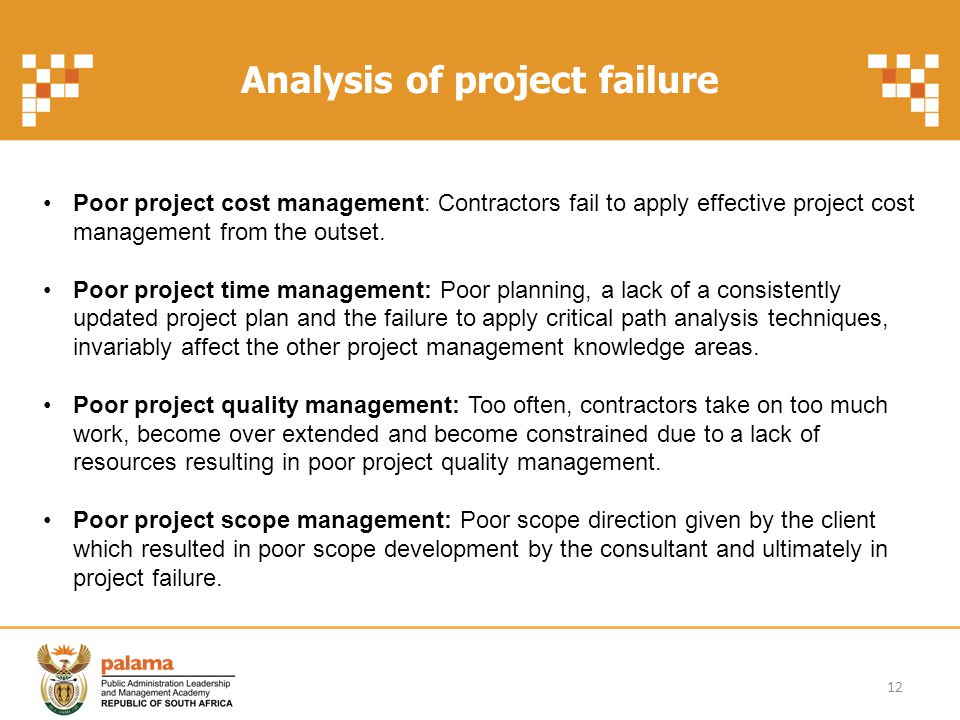 Analysis of project failure