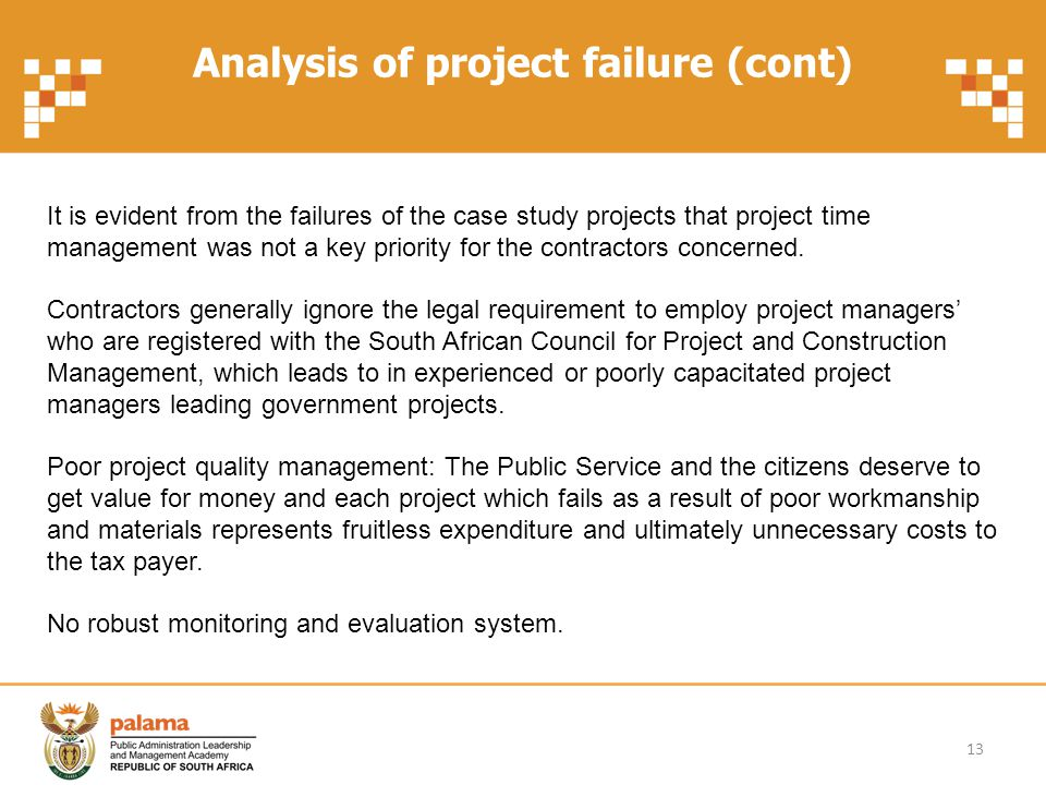 Analysis of project failure (cont)