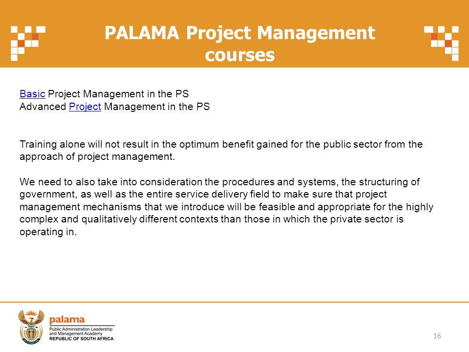 PALAMA Project Management courses
