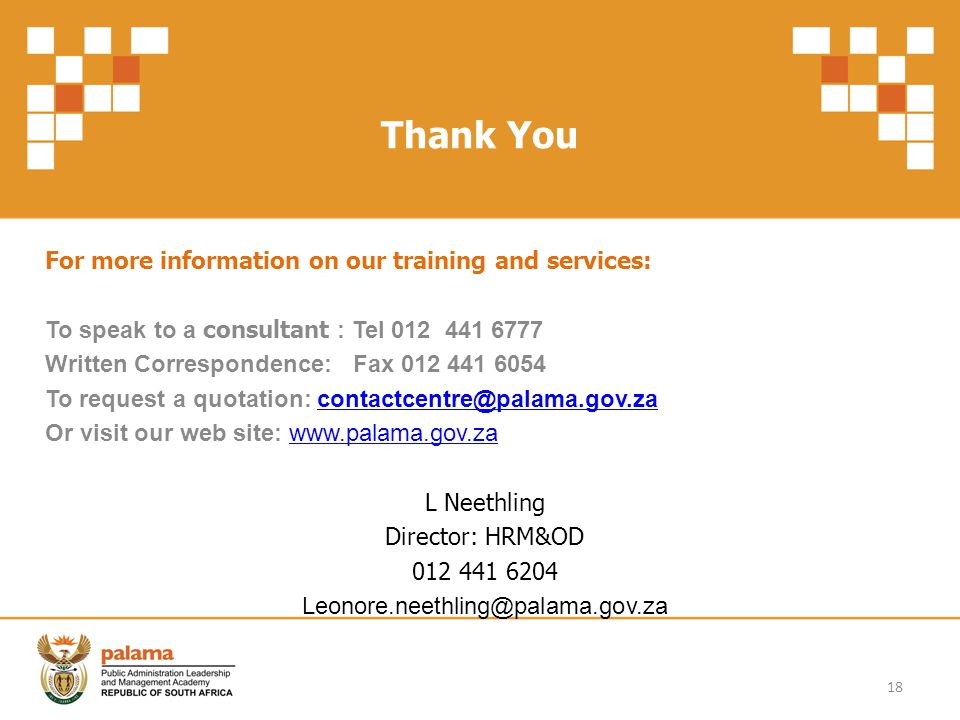 Thank You For more information on our training and services: