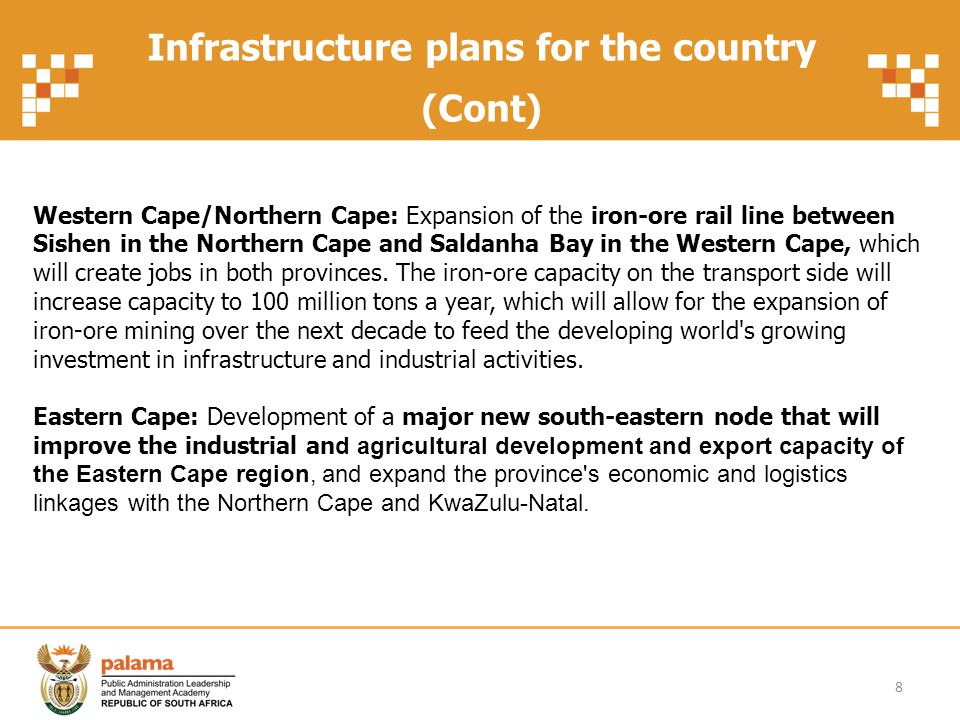 Infrastructure plans for the country