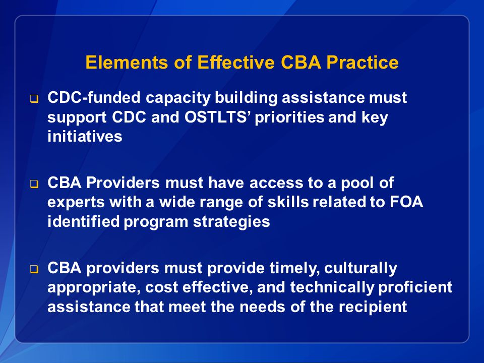 Elements of Effective CBA Practice