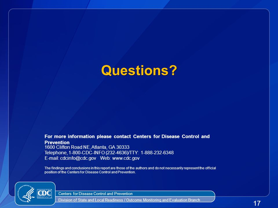 Questions 17 Centers for Disease Control and Prevention