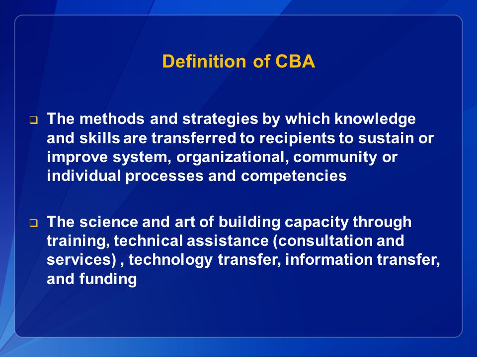Definition of CBA