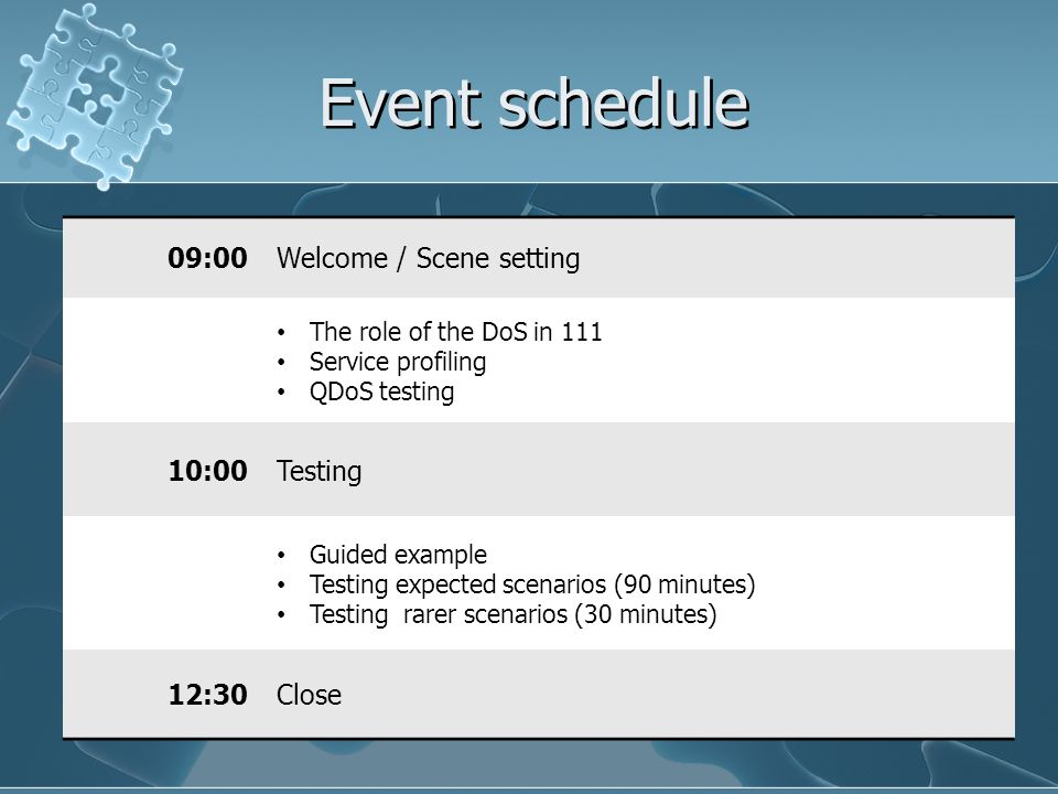 Event schedule 09:00 Welcome / Scene setting 10:00 Testing 12:30 Close