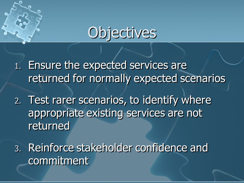 Objectives Ensure the expected services are returned for normally expected scenarios.
