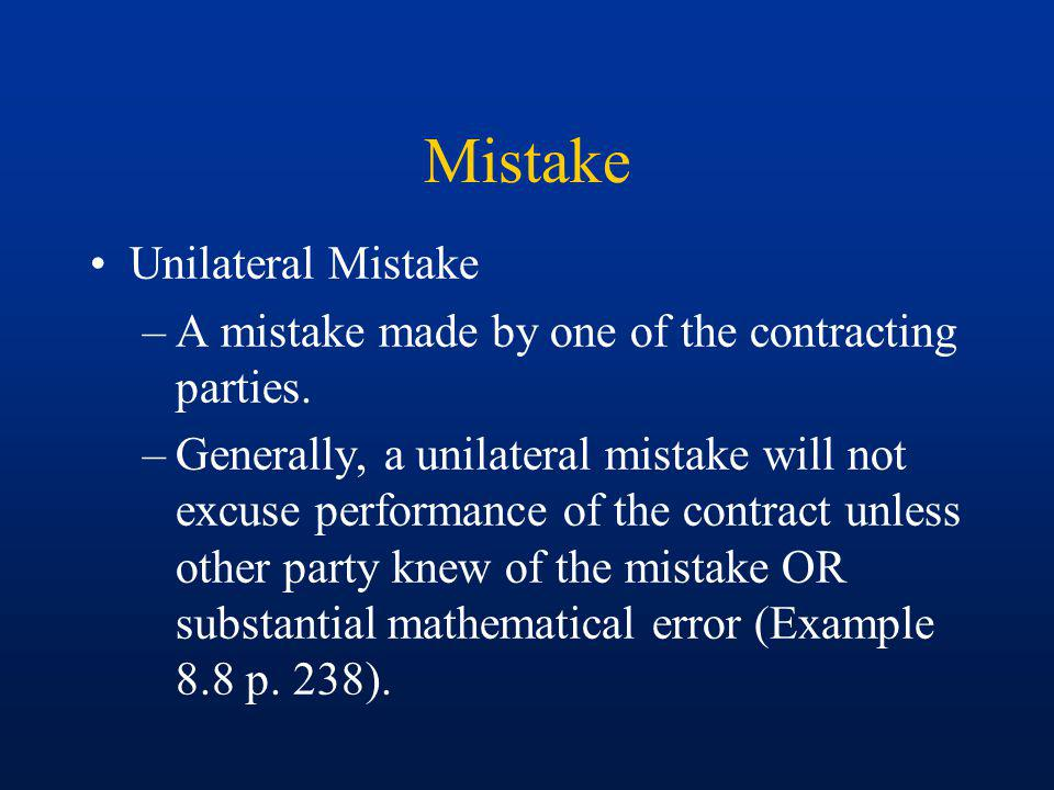 Mistake Unilateral Mistake