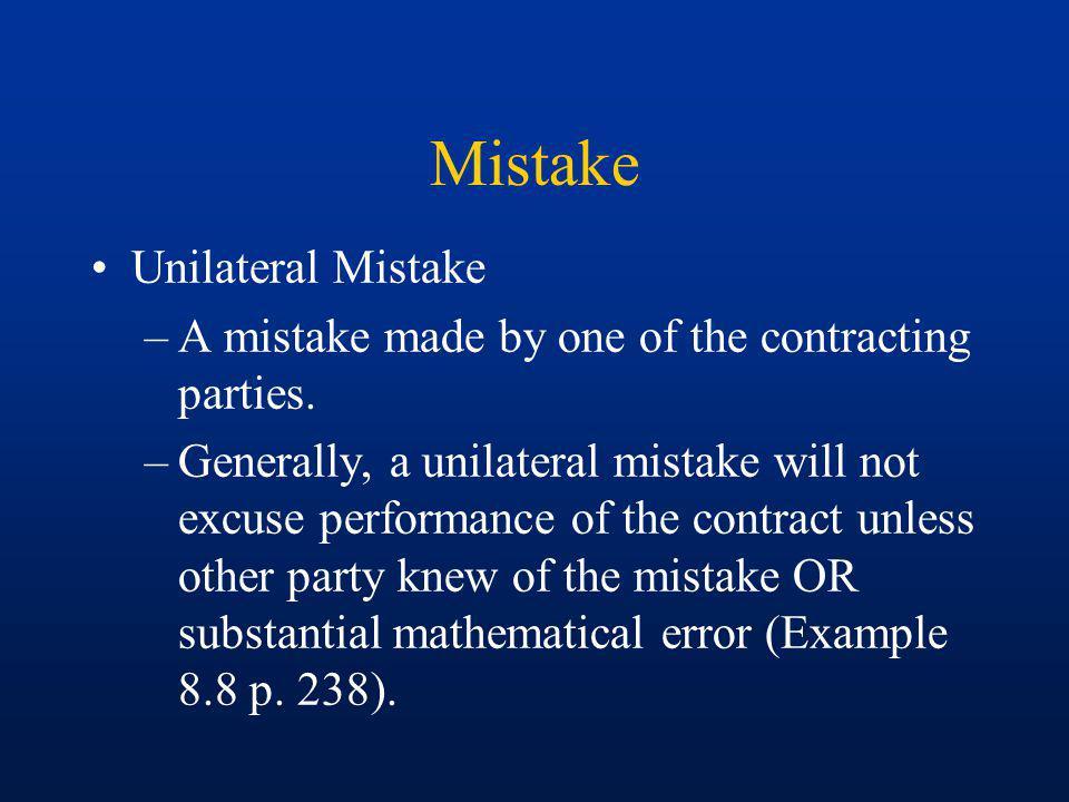 Mistake Unilateral Mistake