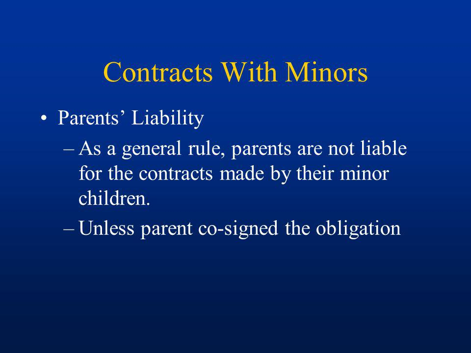 Contracts With Minors Parents' Liability