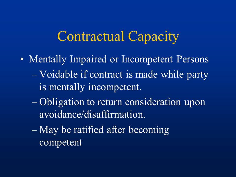 Contractual Capacity Mentally Impaired or Incompetent Persons