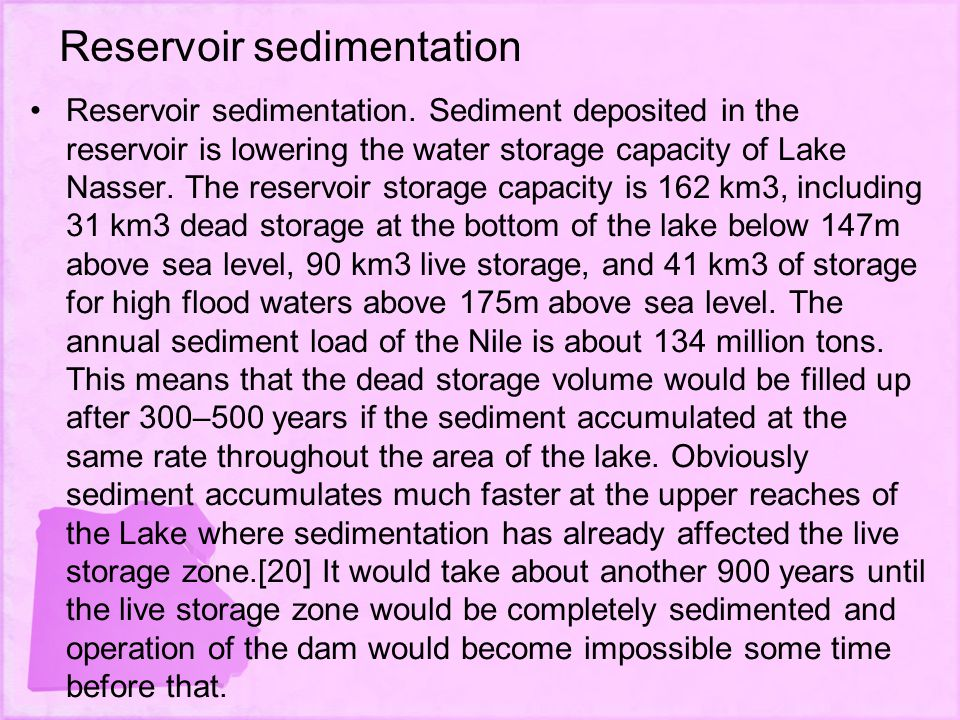 Reservoir sedimentation