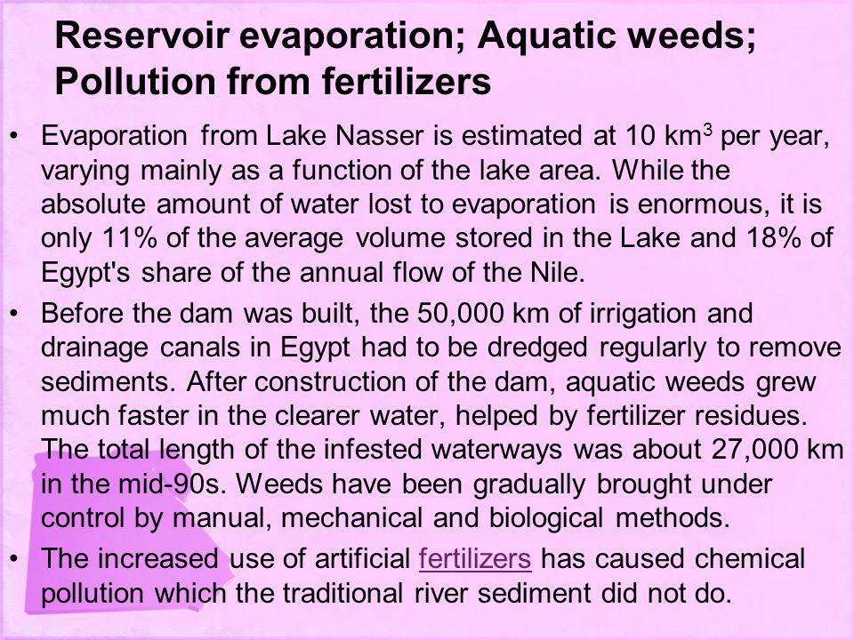Reservoir evaporation; Aquatic weeds; Pollution from fertilizers
