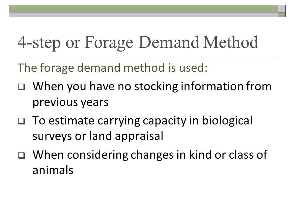 4-step or Forage Demand Method