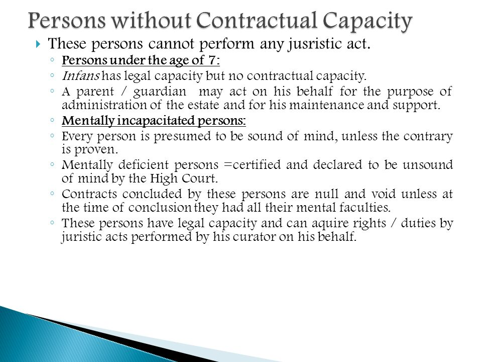 Persons without Contractual Capacity