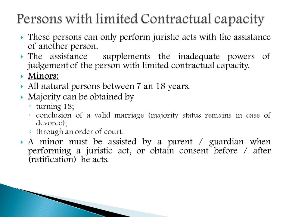 Persons with limited Contractual capacity